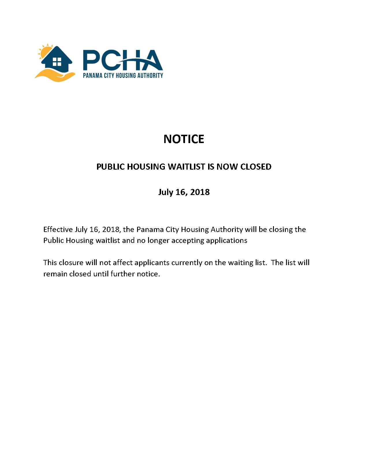 Waitlist Closed - Panama City Housing Authority